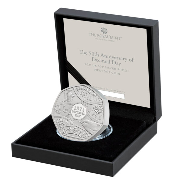 Decimal Day 50p PIEDFORT Silver Coin Box