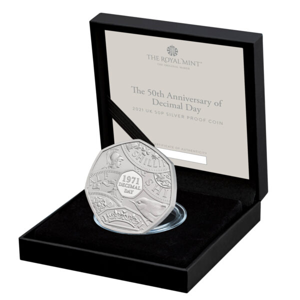 Decimal Day 50p Silver Coin Display