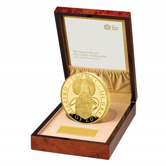 the queens beasts the griffin of edward iii 2021 uk gold proof kilo coin