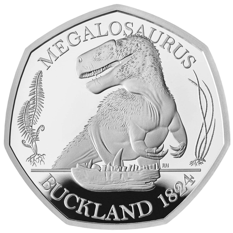 Megalosaurus 50p Silver coin