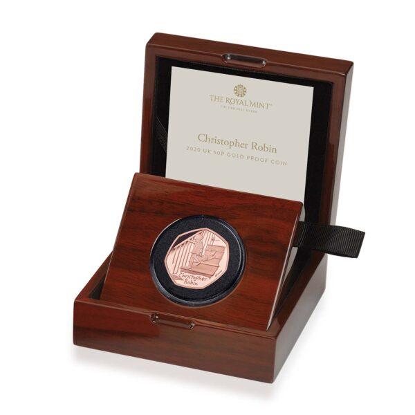 christopher robin 2020 uk 50p gold proof coin in case left uk20crgp