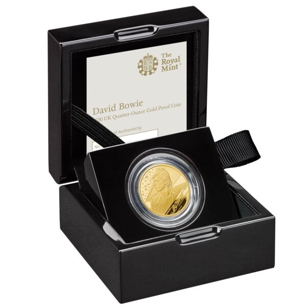 david bowie 2020 uk quarter oz gold proof coin in case right uk20dbqg