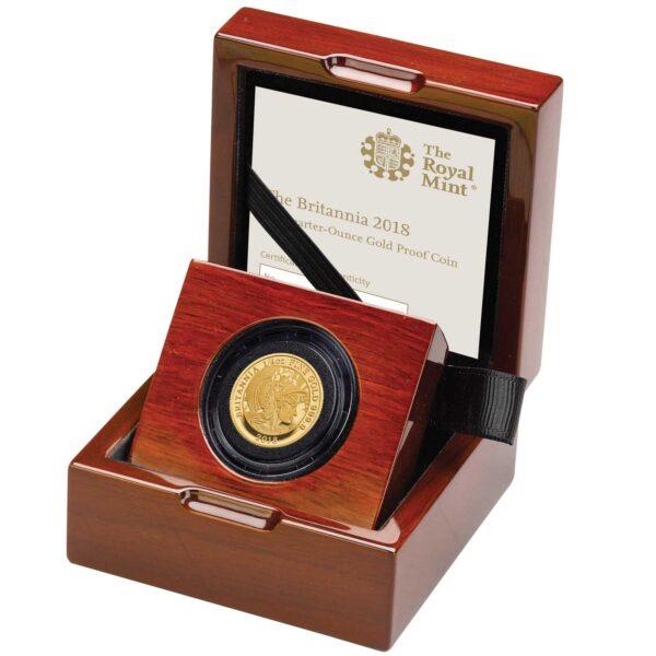 the britannia 2018 uk quarter ounce gold proof coin left br18qozg 1