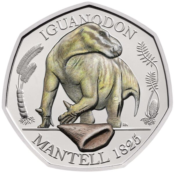 Iguanodon 50p Brilliant Uncirculated Colour Coin