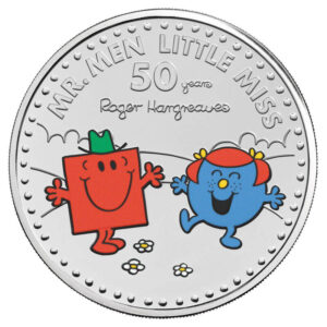Mr. Strong and Little Miss Giggles £5 Brilliant Uncirculated Coloured Coin