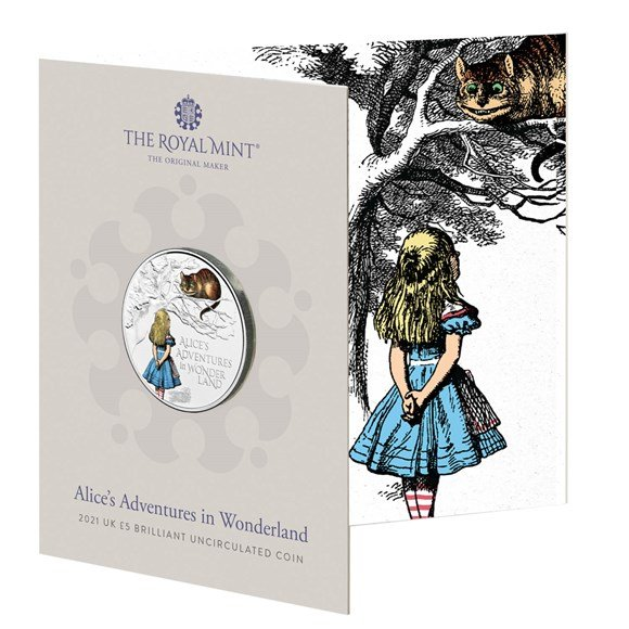 Alice's Adventures in Wonderland 2021 UK £5 Brilliant Uncirculated  Colour Coin