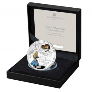 Alice's Adventures in Wonderland 2021 UK One Ounce Silver Proof Colour Coin
