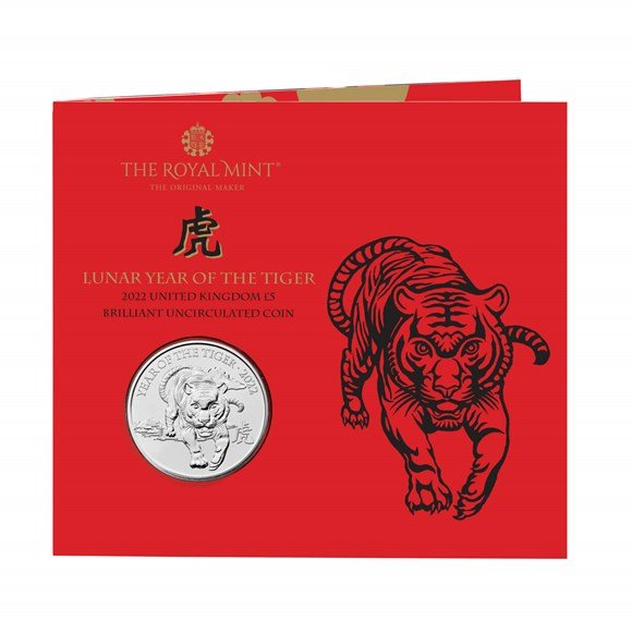Lunar Year of the Tiger 2022 United Kingdom £5 Brilliant Uncirculated Coin