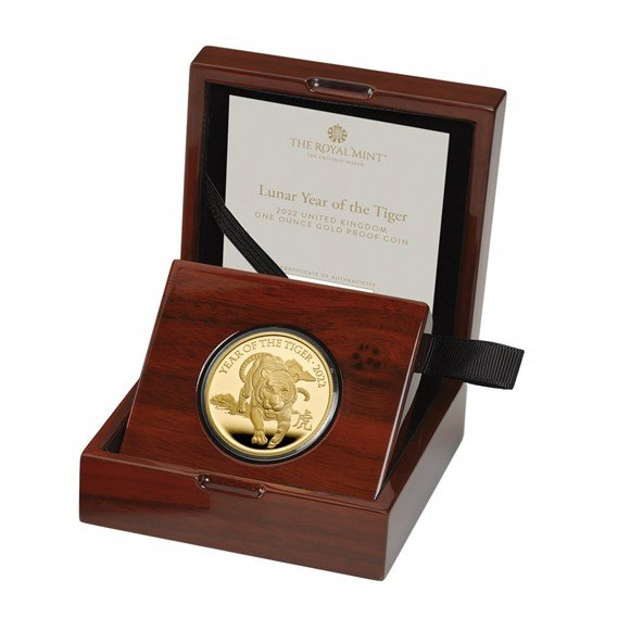 Lunar Year of the Tiger 2022 United Kingdom One Ounce Gold Proof Coin