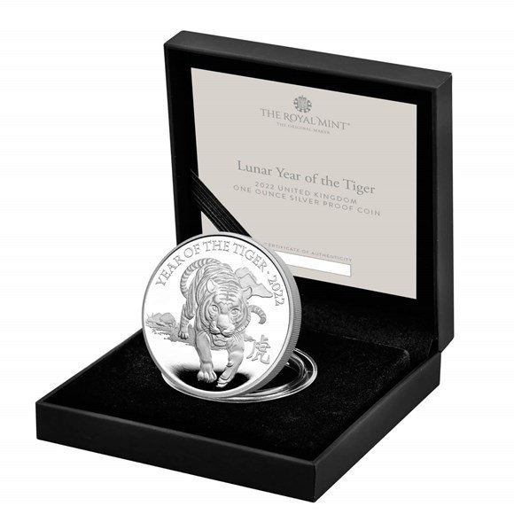Lunar Year of the Tiger 2022 United Kingdom One Ounce Silver Proof Coin