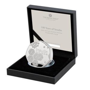 2021 Insulin 50p Silver Proof Piedfort Coin